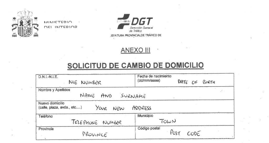 Change registered address for vehicle in Spain